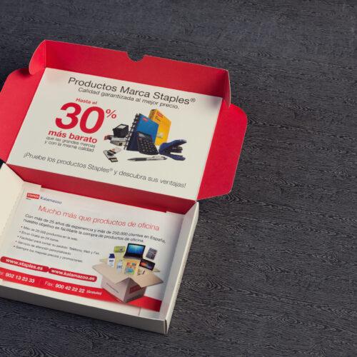 Caja automontable impresa en color para acción de marketing